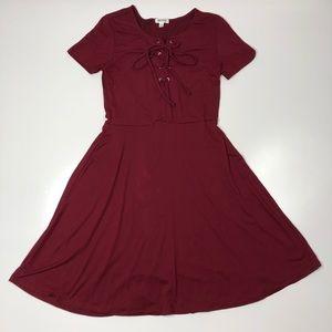 Ardene Burgundy Skater Skirt Lace-up Tie Dress